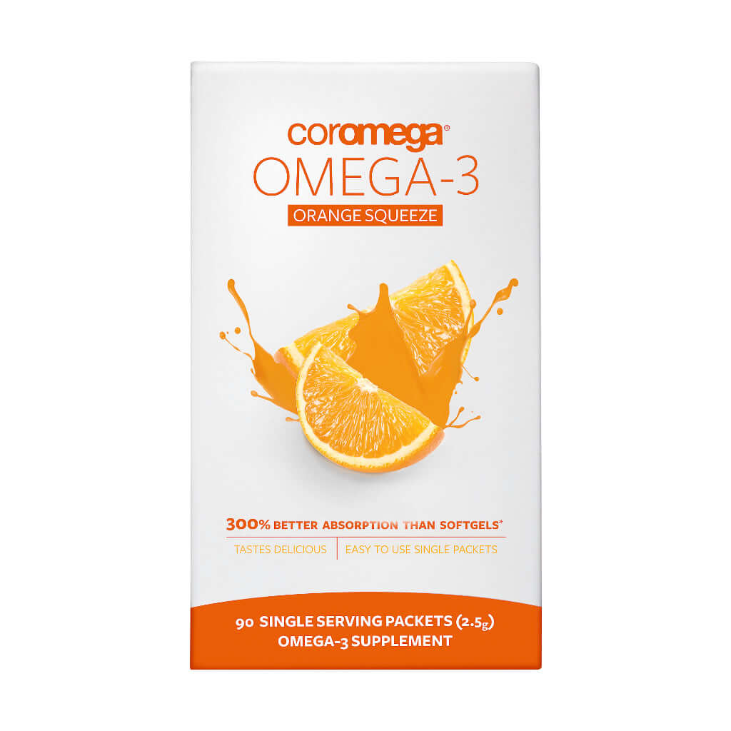Photograph of Celebrate Vitamins' Coromega Omega 3 Squeeze packets in orange flavor in a 90 count package