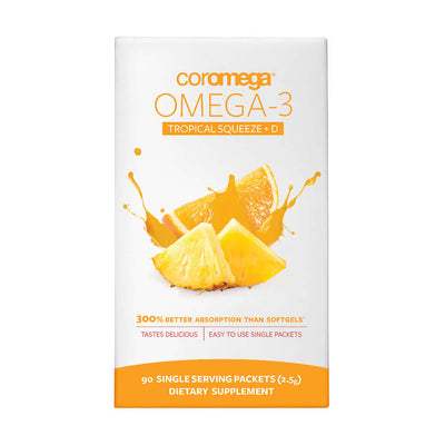 Picture of Celebrate Vitamins' Coromega Omega 3 Squeeze packets in tropical flavor in a 90 count package