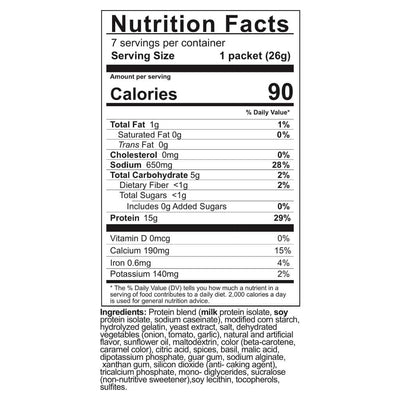 Supplement facts for Celebrate's bariatric protein soup in cream of tomato flavor in a 7 count package
