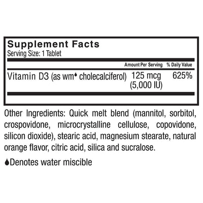 Supplement facts for Celebrate's vitamin d3 tablet in orange flavor in a 90 count bottle