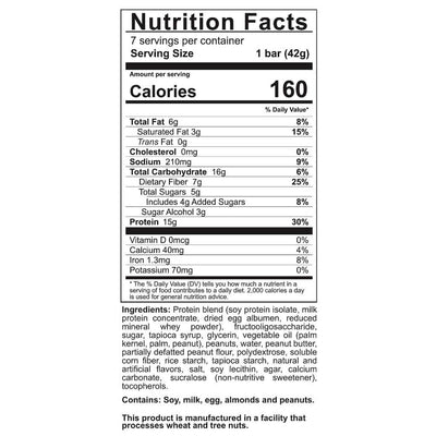 Supplement facts for Celebrate's bariatric protein bars in fulffy nutter flavor in a 7 count box