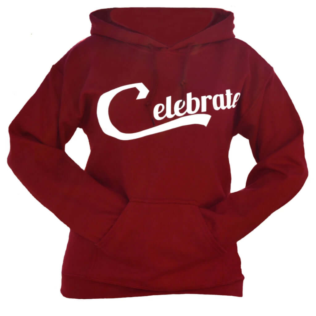 Image of the front of the Celebrate hoodie sweatshirt