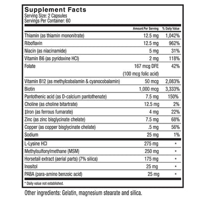 Supplement facts for Celebrate's bariatric surgery hair loss vitamins available in capsules in a 120 count bottle