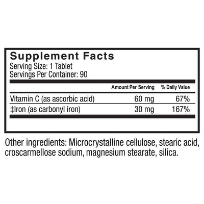 Supplement facts for Celebrate's iron plus c in 30 mg tablet in a 90 count bottle