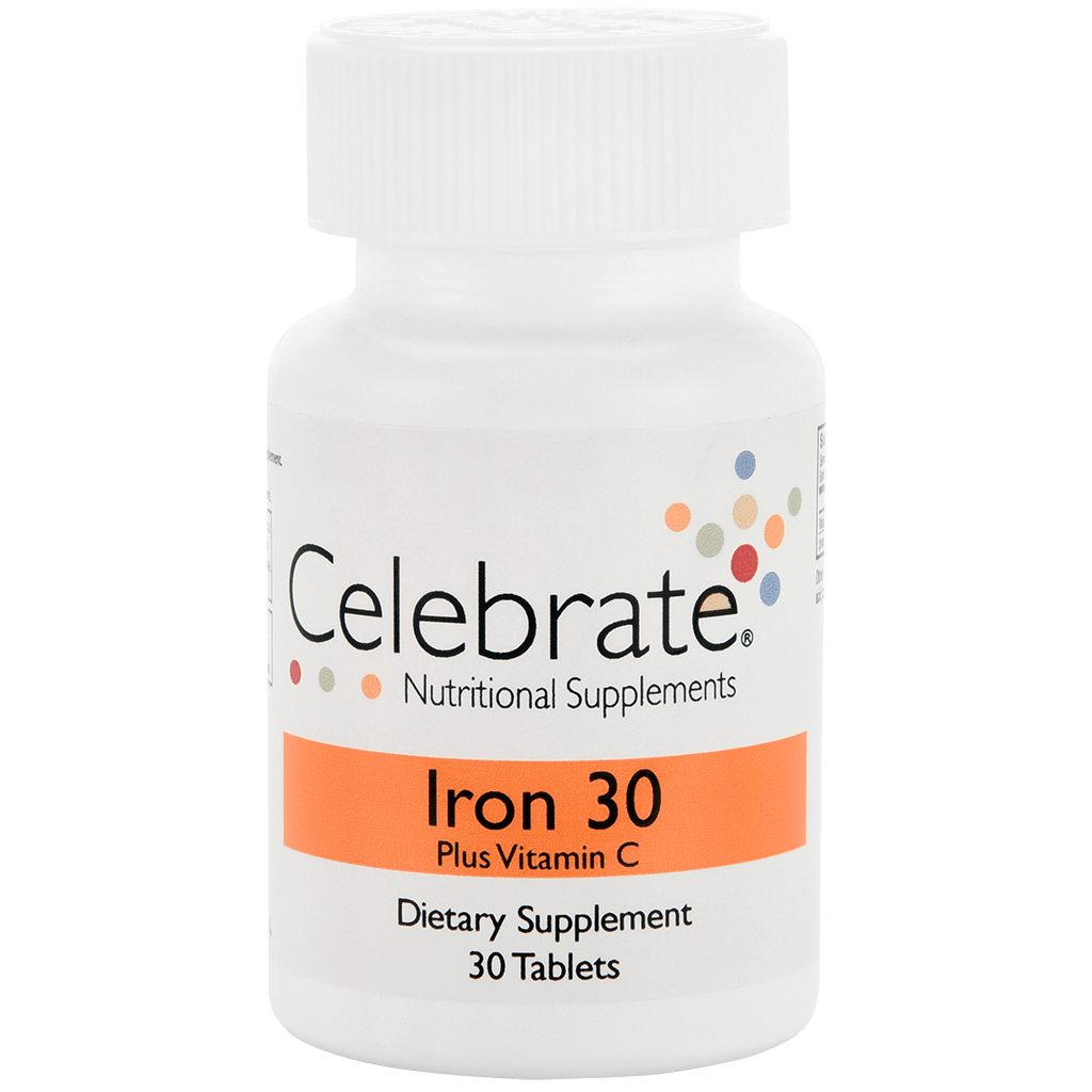Photograph of Celebrate's iron c in 30 mg tablets in a 30 count bottle