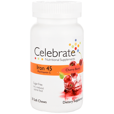 Photograph of Celebrate's iron with vitamin c soft chews in Cherry Burst flavor in a 30 count container