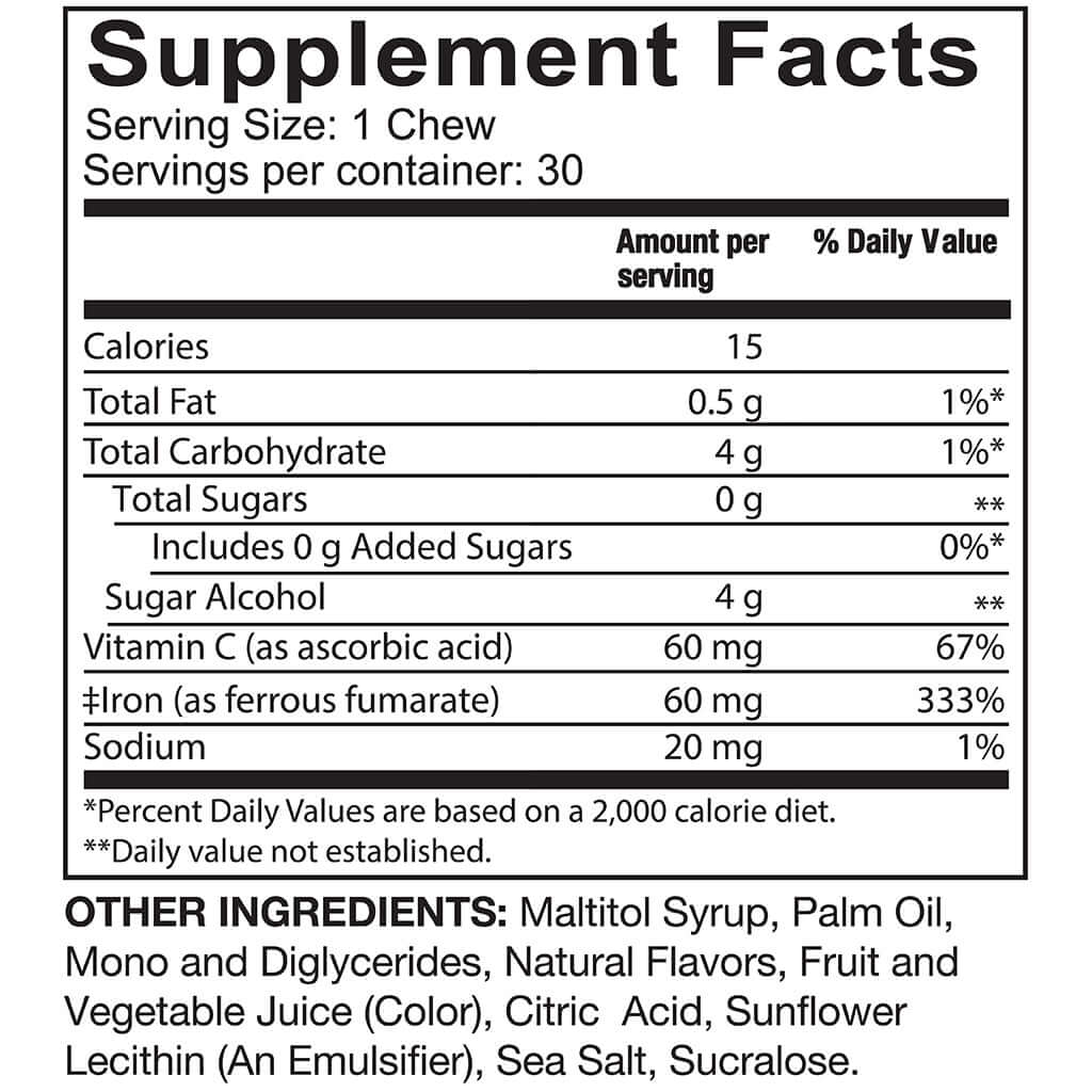 Supplement facts for Celebrate's iron with vitamin c soft chews in Twisted Citrus flavor in a 30 count container