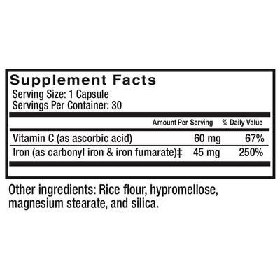 Supplement facts for Celebrate's iron c in 45 mg capsules in a 30 count bottle