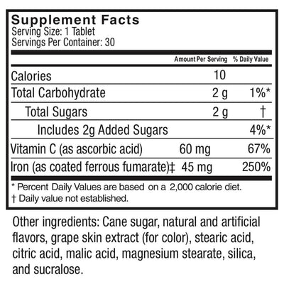 Supplement facts for Celebrate's iron supplements with vitamin C - grape flavor - 30 tablets