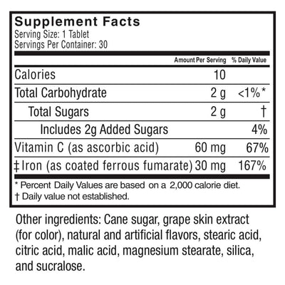 Supplement facts for Celebrate Vitamins' grape flavored iron c chewable tablets - 30 count