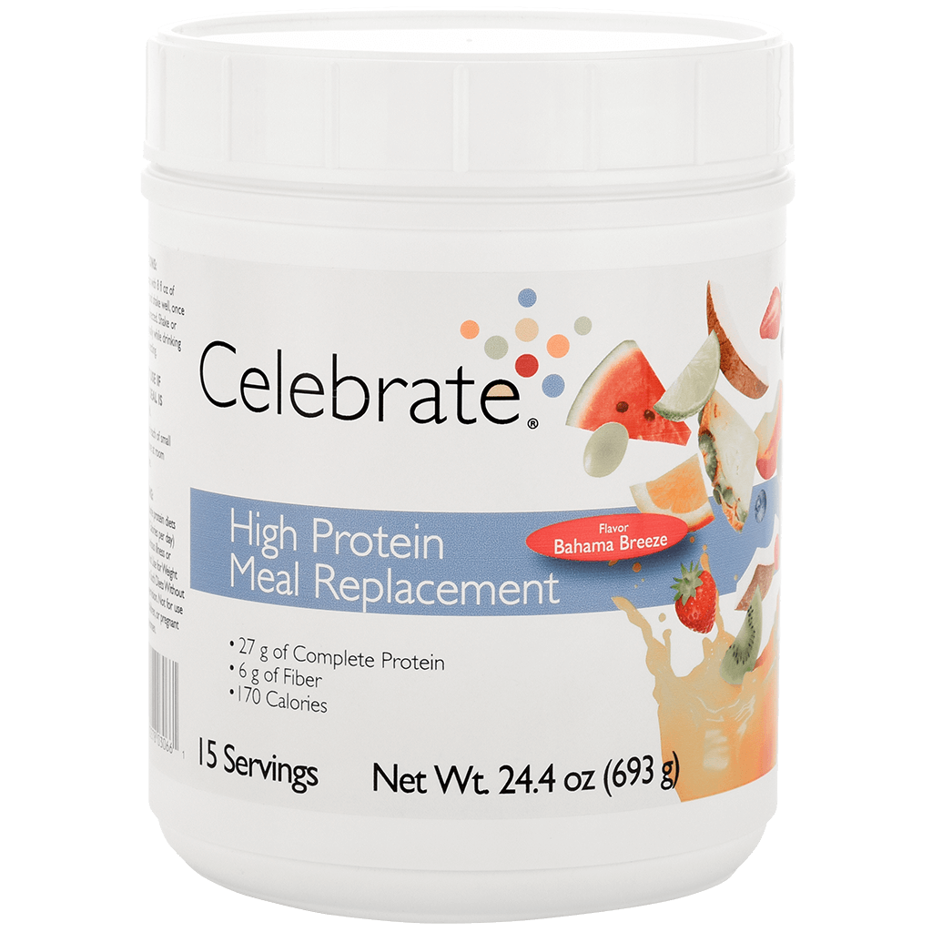 Photograph of Celebrate's meal replacement protein powder shakes in Bahama Breeze flavor in a 15 serving tub