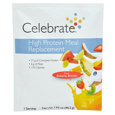 Photograph of the single serve package of Celebrate's Bahama Breeze bariatric meal replacement shakes