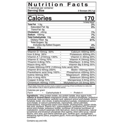 Supplement facts for Celebrate's bariatric meal replacement shakes - Bahama Breeze - 15 serving tub