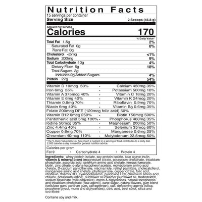 Supplement facts for Celebrate's bariatric meal replacement shakes - bananaberry flavor - 15 serving tub