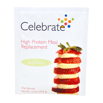 Photograph of the single serve package of Celebrate's bananaberry flavored meal replacement protein powder shakes