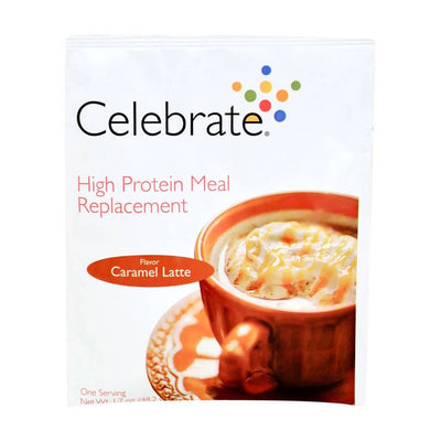 Photograph of the single serve package of Celebrate's caramel latte bariatric meal replacement shakes