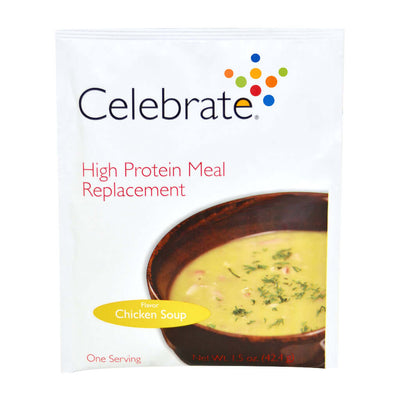 Photograph of the single serve package of Celebrate's Chicken Soup flavored meal replacement protein powder shakes