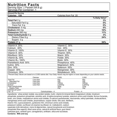 Supplement facts for Celebrate's meal replacement protein shakes - vanilla bean flavor - single serving package