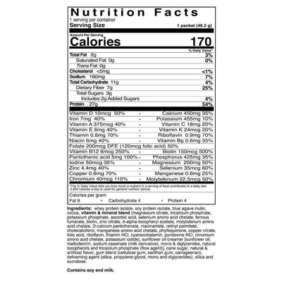 Supplement facts for Celebrate's meal replacement protein shakes - deep chocolate flavor - single serving package
