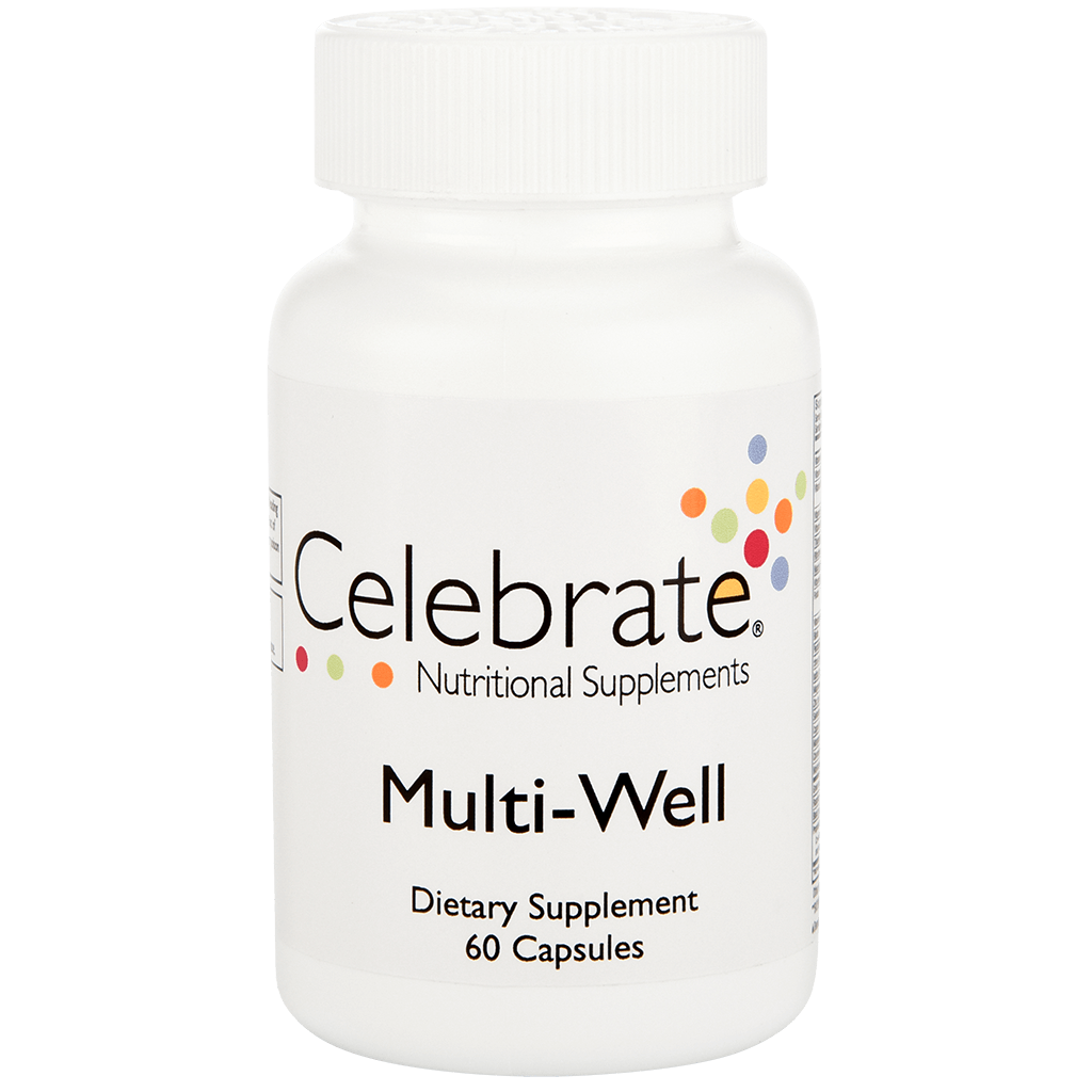 Photograph of Celebrate's multivitamin for weight loss capsules in a 60 count bottle