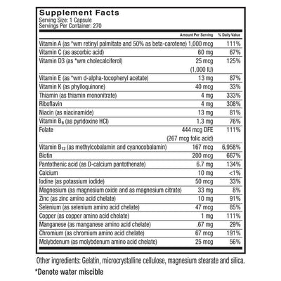 Image of the supplement facts from Celebrate's multivitamin capsules for bariatric patients - 270 capsule bottle