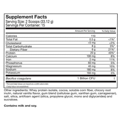 Supplement facts for Celebrate's probiotic protein powder in chocolate flavor in a 15 serving tub