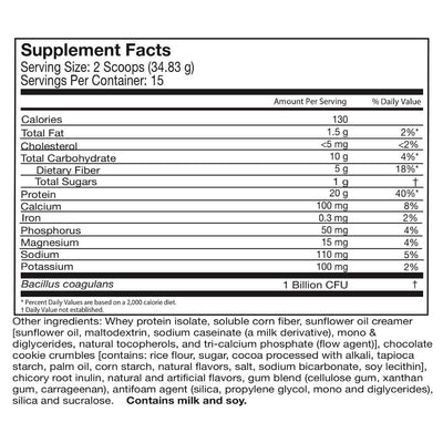 Supplement facts for Celebrate's probiotic protein powder in cookies and cream flavor in a 15 serving tub
