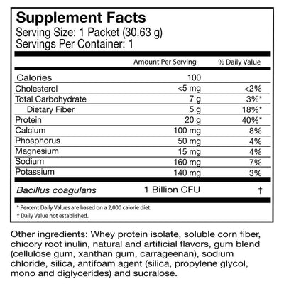 Supplement facts for Celebrate's probiotic protein smoothie powder in peanut butter cookie flavor in a single serving pouch