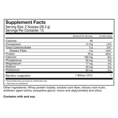 Supplement facts for Celebrate's probiotic protein smoothie powder, unflavored. in a 15 serving tub