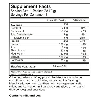 Supplement facts for Celebrate's probiotic protein powder in chocolate flavor in a single serving pouch