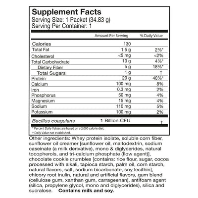 Supplement facts for Celebrate's probiotic protein powder in cookies and cream flavor in a single serving pouch