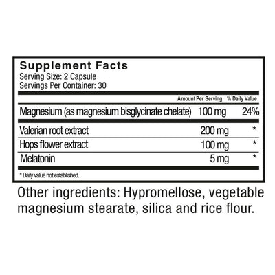 Supplement facts for Celebrate's magnesium bisglycinate sleep capsules in a 60 count package