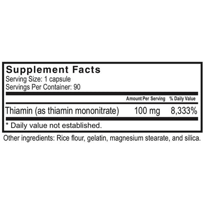Supplement facts for Celebrate's thiamin vitamin b1 in a 90 count bottle