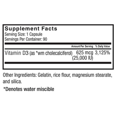Supplement facts for of Celebrate's vitamin d3 capsule with 25,000 IU in a 90 count bottle