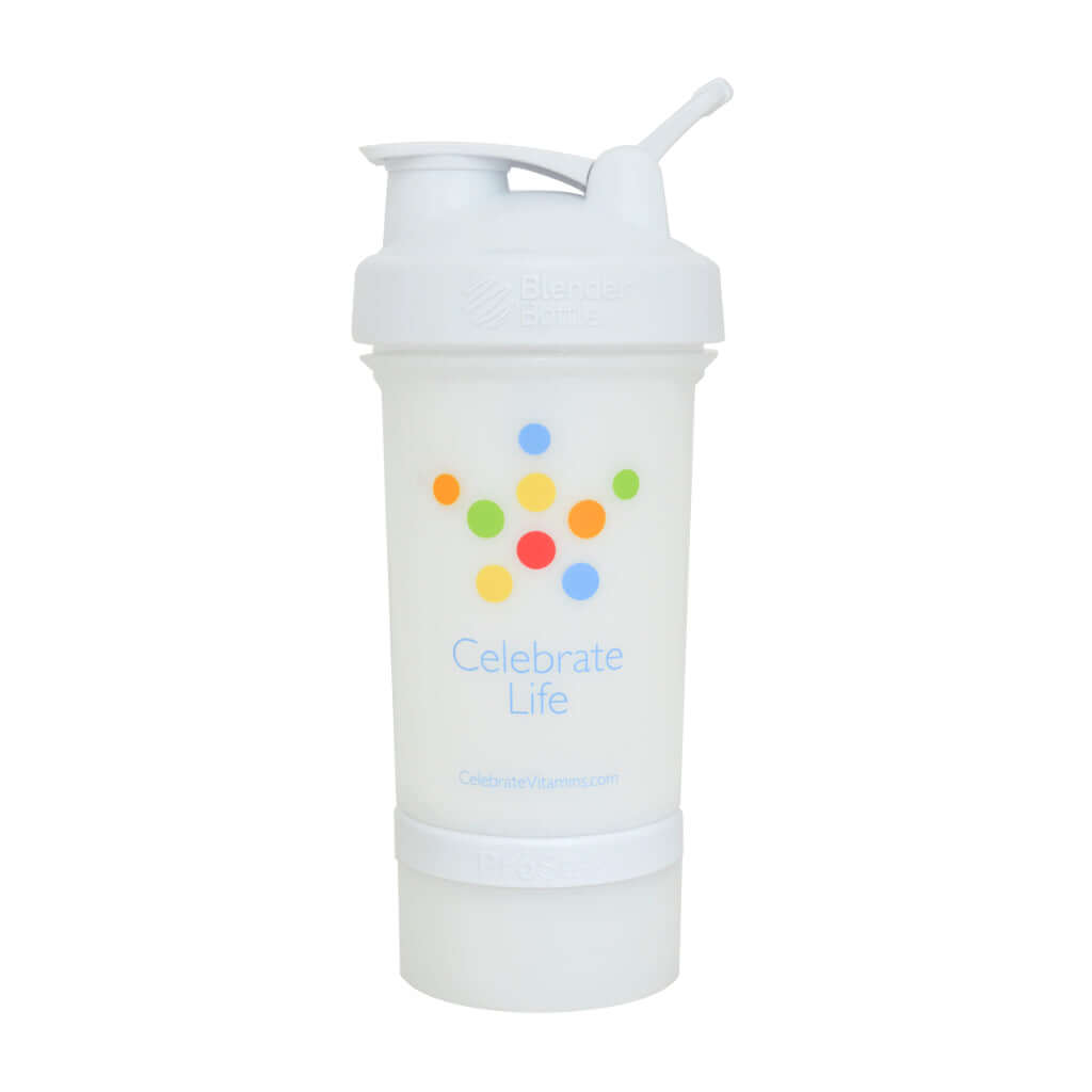 Image of Celebrate's white Prostack blender bottle for mixing protein powder shakes