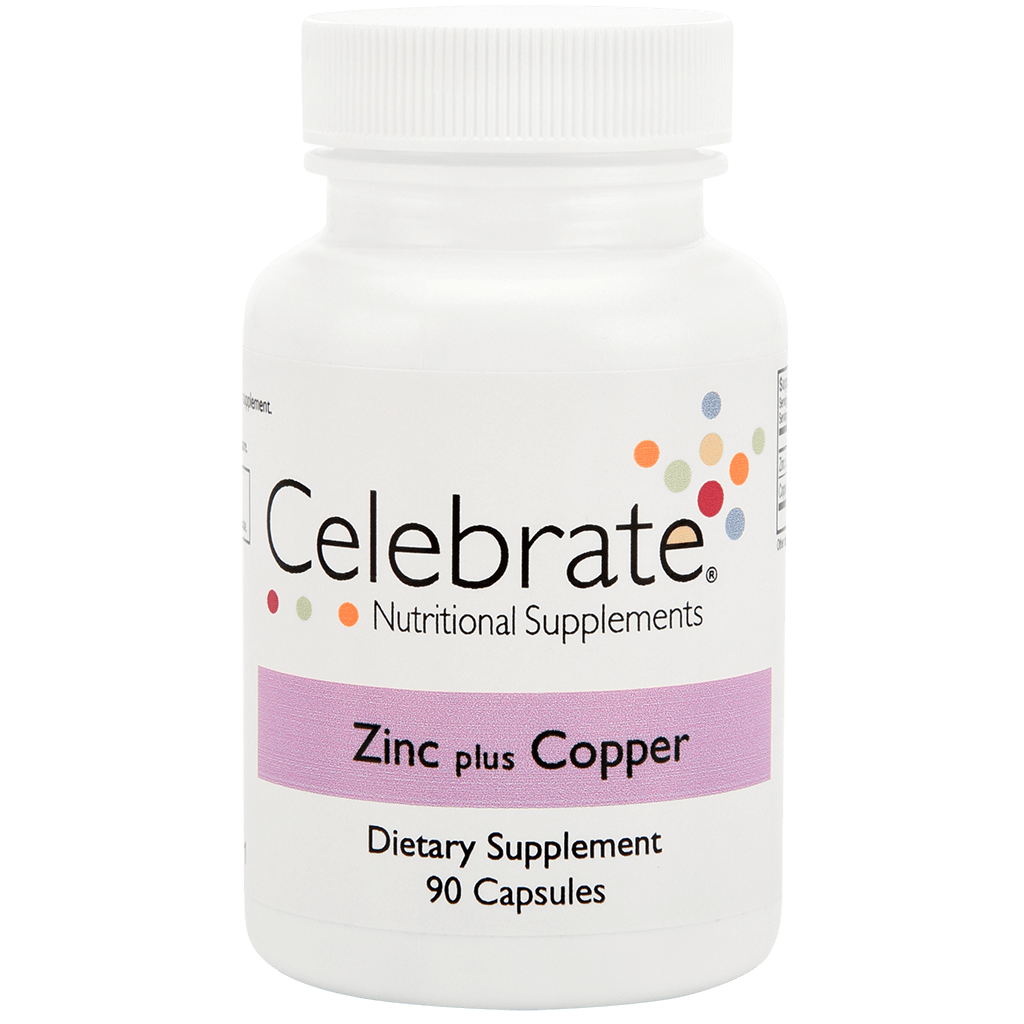 Photograph of Celebrate's Zinc Plus Copper in a 90 count bottle