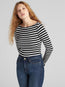 Modern Stripe Long Sleeve Boatneck T-Shirt