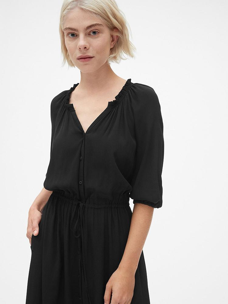 Tie-Waist Maxi Shirtdress