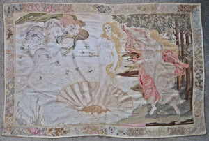 French silk embroidery textile Art Deco Sandro Botticelli The Birth of Venus