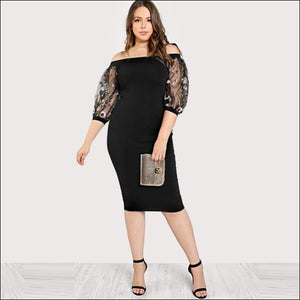 2f5f0f311f SHEIN Off the Shoulder Pencil Embroidered Mesh Sleeve PLUS SIZES Dress -  Black / L -