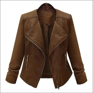 5066ce4119 Womens Leather Jacket Long Sleeve Slim Brown Motorcycle Jacket - Plus Sizes  5XL - Brown /