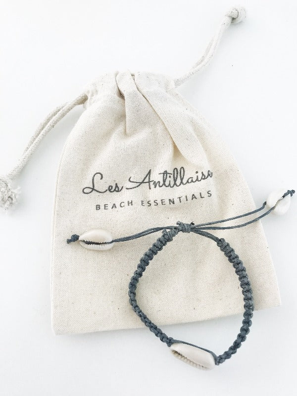 bracelet coquillage naturel les antillaises gris
