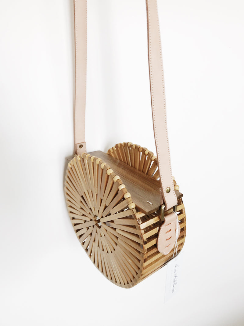 Sac rond en bamboo (cuir taupe)