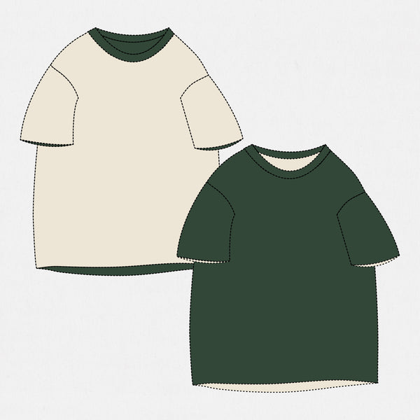 GSS19201DG - Reversible Tee - Dark Green / Natural