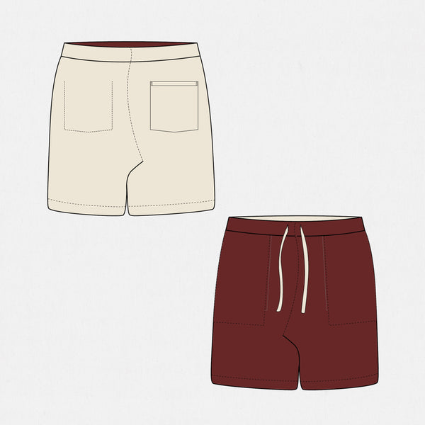 GSS19302BG - Reversible Shorts - Burgundy / Natural