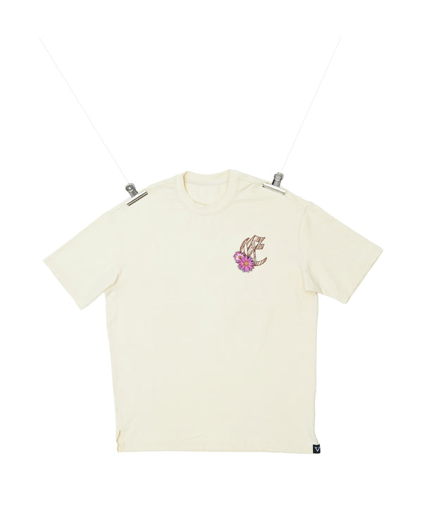 Eglaf | Wood Logo With Daisy Oversized Tee Cream White