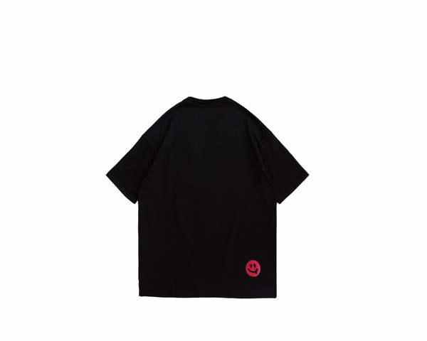 Eglaf | Smiley Face Embroidery Oversized Tee Pink
