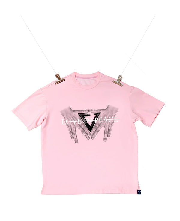 Eglaf | Love In Peace Oversized Tee Pink