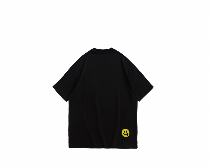 Eglaf | Smiley Face Embroidery Oversized Tee Yellow