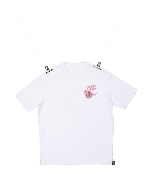 Eglaf | Wood Logo With Daisy Oversized Tee White